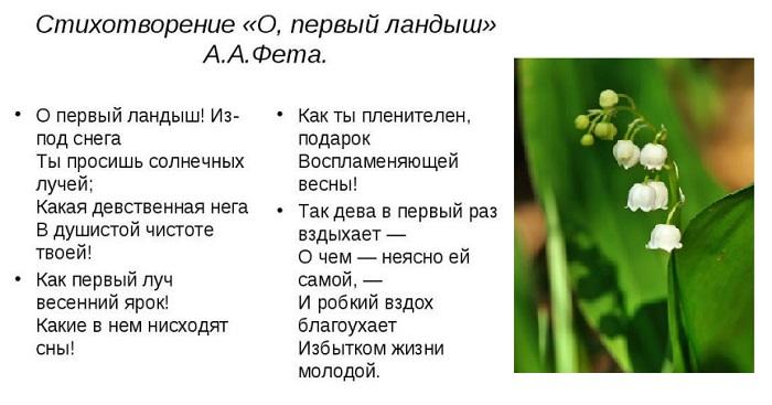 """стихотворение Фета """"Первый ландыш"""""""